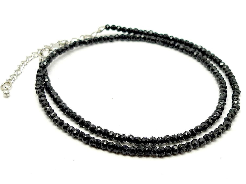 (SAJ) ブラックスピネル ネックレス 45cm アジャスター付き パワーストーン 天然石 メンズ レディース B00ZF6FXB0