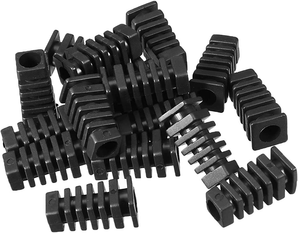 uxcell/® 15Pcs 7mm Inner Dia PVC Square Strain Relief Cord Boot Protector Sleeve Power Tool Hose Black