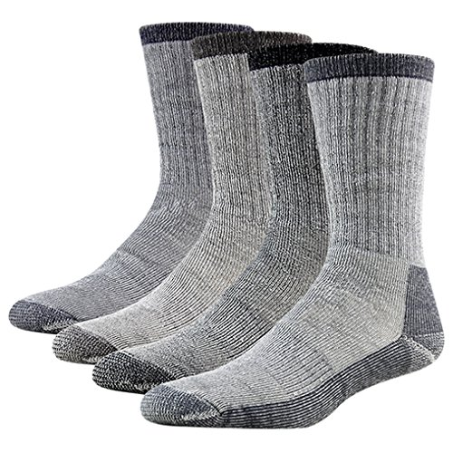 Winter Hiking Socks, RTZAT Men's Women's High Performance Mid Calf Below Zero Thick Padded Cold Weather Extreme Warm Outdoor Boot Socks 4 Pairs Grey Large