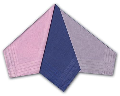 Confezione Da 12 Di Donna's 100% Cotone Tinto Fazzoletti Con Un Bordo In Raso, Colori Assortiti