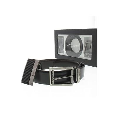 fbb8bbcf2214 Azzaro - Coffret ceinture Azzaro Noir Marron 35mm  Amazon.fr ...