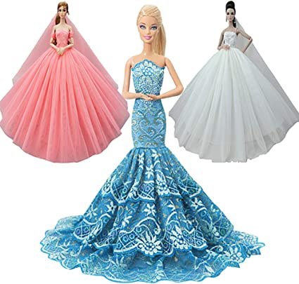 Handmade doll princess wedding dress for  1//6 doll party gown clothes In US