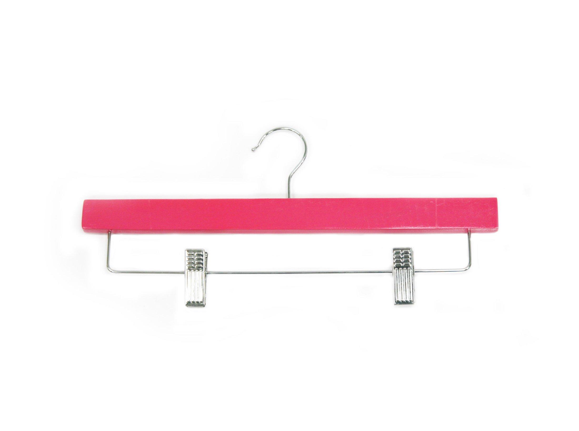 Newtech Display HWB-14/HTPNK Pants/Skirt Wood Hanger, Hot Pink (Pack of 100)