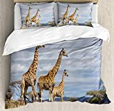 Africa Twin Duvet Cover Sets 4 Piece Bedding Set Bedspread with 2 Pillow Sham, Flat Sheet for Adult/Kids/Teens, African Giraffe Family Looking at the Skyline in Savannah Grassland with Shrubs Print