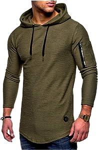 Free OLUOLIN Mens Fashion Long Sleeve Hoodie Casual...