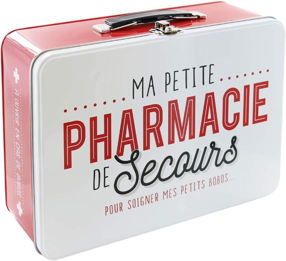 LA BOITE A BT6630Caja Metálica con Texto en francés Pharmacie Rojo/Blanco 26,50x 9,40x 22,30cm