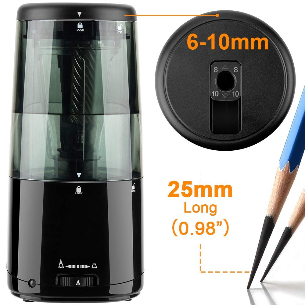 Long Point Pencil Sharpener, AFMAT Heavy Duty Electric Pencil Sharpener for 6-10mm Colored & Drawing Sketching Pencils, Rechargeable Art Pencil Sharpener, Super Easy to Replace the Blade