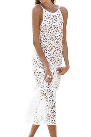 90de3d27c3009 Aox Women Hot Sleeveless Backless Crochet Lace Hollow Out Tunic Summer  Beach Cover up Swimwear Holiday