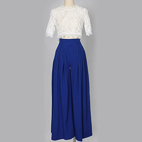 d23f9020bf09 YYF Women s 2 Pieces Lace See-through T-shirt Wide Leg Loose Pants Outfit  Jumpsuits  Amazon.co.uk  Clothing
