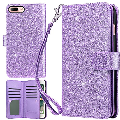 iPhone 8 Plus Case, iPhone 7 Plus Case, UrbanDrama Glitter Sparkly Flip Wallet Folio PU Leather Credit Card Slots Protective Case Cover for iPhone 7 Plus/iPhone 8 Plus 5.5