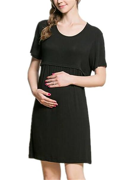 f2b2f2584663 Haililais Donna Abito Pregnancy per L allattamento Abiti Casual Rotondo  Collo Vestiti Chemisier A Strati