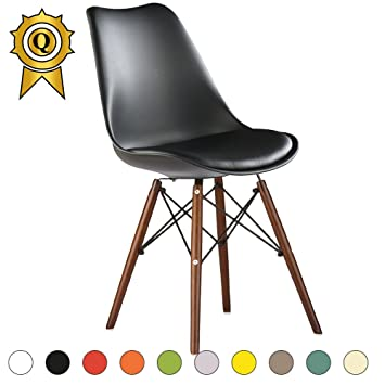 MOBISTYL Promo 1 X Chaise Scandinave Inspiration Eiffel Pieds Bois Vernis Assise Coussin Noir TULED