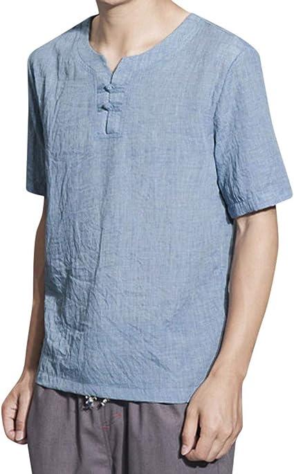 Camisa de lino para hombre de PPangUDing, camisa Henley con cuello en V, Butom Down, camisa de ocio, manga corta, algodón, camisetas de playa: Amazon.es: Instrumentos musicales