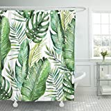 VaryHome Shower Curtain Colorful Aloha Green Tropical Palm Fern Leaves on White Watercolor Hand Jungle Foliage Botanical Branch Waterproof Polyester Fabric 78 x 72 Inches Set with Hooks