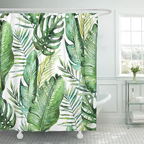 VaryHome Shower Curtain Colorful Aloha Green Tropical Palm Fern Leaves on White Watercolor Hand Jungle Foliage Botanical Branch Waterproof Polyester Fabric 78 x 72 Inches Set with Hooks by VaryHome