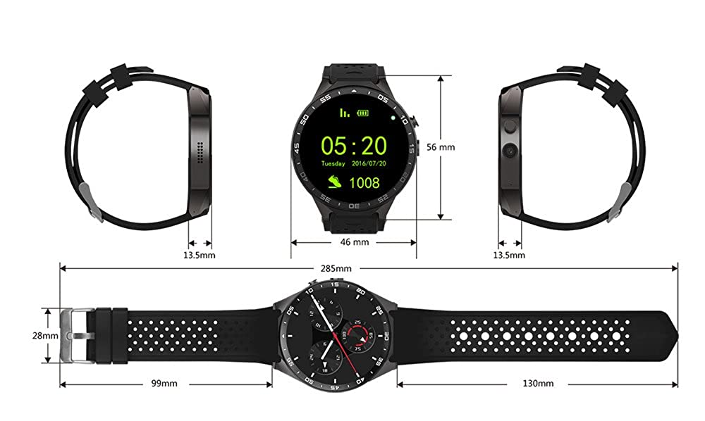 Gearbest kw88 3 G Teléfono Smartwatch con GPS WIFI podómetro PULSÓMETRO RC de 5.0 MP cámara para Android 5.1: Amazon.es: Relojes