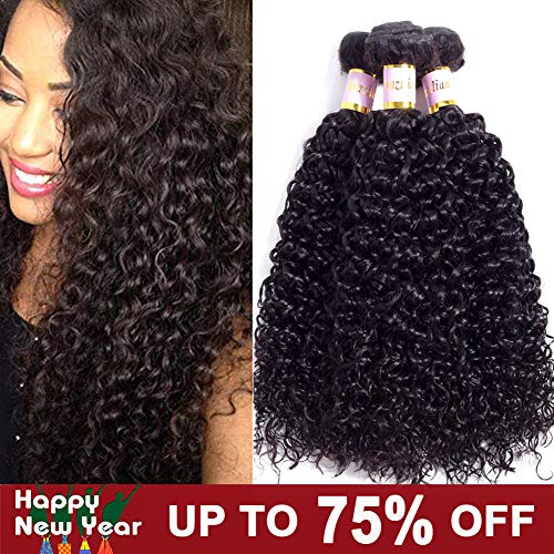Brazilian Virgin Kinky Curly 3 Bundles 8A 100% Unprocessed Human Hair Curly Weft Extensions Weaves Natural Black Color (14 16 18 inch)