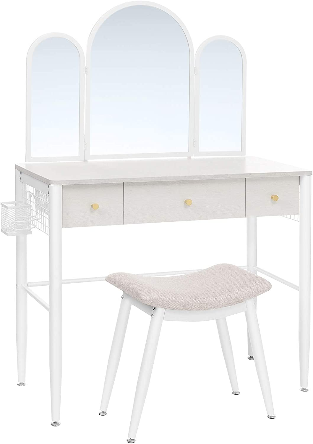 VASAGLE Makeup Vanity Table Set, Dressing Table, Makeup Table with Cushioned Stool, Tri-Fold Mirror, 3 Drawers, and Brush Holder, Metal Frame, Modern Vanity Desk, White URVT003W01