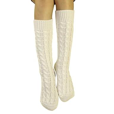 d4e83196640 Laine Chaussettes Montantes Femme HIver Bottes Chaussettes Haute - Uni  (Blanc)  Amazon.fr  Vêtements et accessoires