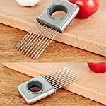 Hvanam Stainless Steel Onion Silcing Holder With 10 Even Prong Easy Hold Tomato Potato Vegetable To Cut,Sliver Color 13 This onion holder not only for onions,also good for vegetables like tomatoes,potatoes It requires kitchen gadgets made by high quality anti rust 18/8 stainless steel,equipped with pointed and reinforced food grade plastic handle,durable,elegant appearance,anti-skid,make you more comfortable and convenient to hold and use.it to create a uniform slice,and more importantly,it helps reduce labor and save time.10 stainless steel sharp tips can be inserted into hard vegetables and fresh meat fish and beef This onion holder,can avoid slicing and cutting injury,innovative design tools is a housewife,chef cooks and kitchen staff ideal lovely gift,make work more fun and convenient cooking