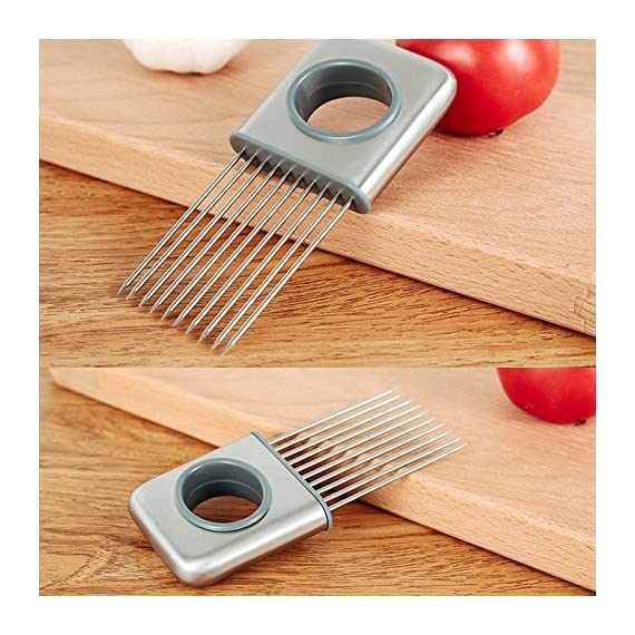 Hvanam Stainless Steel Onion Silcing Holder With 10 Even Prong Easy Hold Tomato Potato Vegetable To Cut,Sliver Color 5 This onion holder not only for onions,also good for vegetables like tomatoes,potatoes It requires kitchen gadgets made by high quality anti rust 18/8 stainless steel,equipped with pointed and reinforced food grade plastic handle,durable,elegant appearance,anti-skid,make you more comfortable and convenient to hold and use.it to create a uniform slice,and more importantly,it helps reduce labor and save time.10 stainless steel sharp tips can be inserted into hard vegetables and fresh meat fish and beef This onion holder,can avoid slicing and cutting injury,innovative design tools is a housewife,chef cooks and kitchen staff ideal lovely gift,make work more fun and convenient cooking