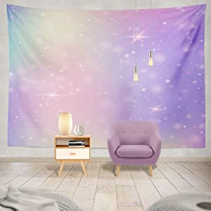 Summor Tapestry Unicorn with Rainbow Mesh Kawaii Universe Banner Princess Colors Fantasy Hanging Tapestries 60 x 80 inch Wall Hanging Decor for Bedroom Livingroom Dorm