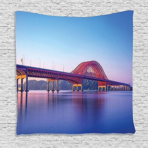Price comparison product image SCOCICI Supersoft Fleece Throw Blanket Apartment Decor Banghwa Bridge and Han River in Seoul Korea Contemporary Architecture Picture Blue Red Purple 59 x 59 Inches