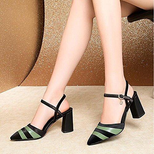 De Sandales Talons Green D'été À Épaisses Taille des Boucle 36 Sauvage avec De Pointues Cuir Boucle Green Sandales en Couleur qwAtf00