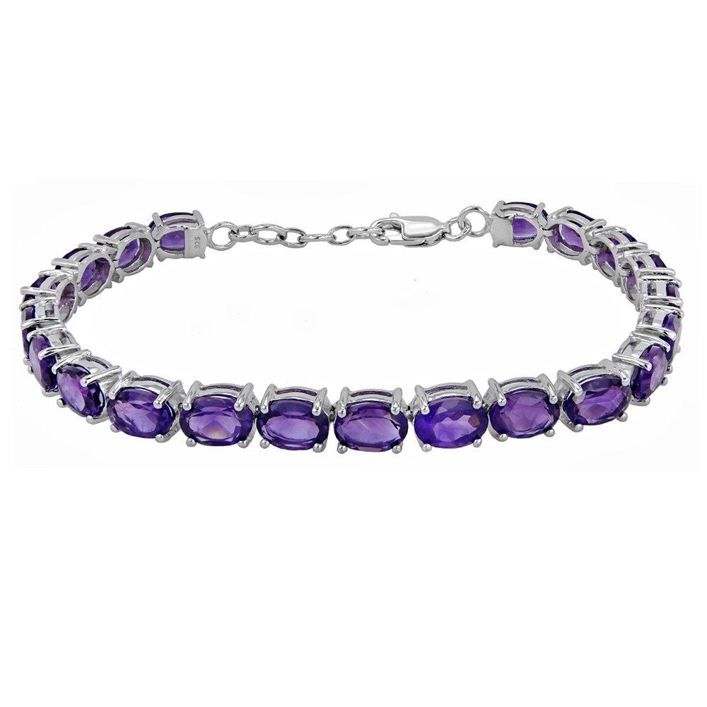 Fine Amethyst Tennis Bracelet in Sterling Silver