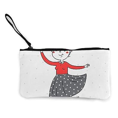 Amazon.com: Monedero de lona con cremallera, diseño de niña ...
