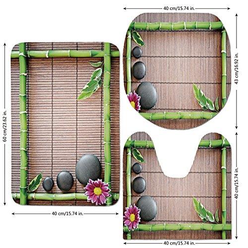 3 Piece Bathroom Mat Set,Meditation,Spa Frame with Spiritual Stones Bamboo Stems Orchid Petals Yoga Zen Philosophy,Multicolor,Bath Mat,Bathroom Carpet Rug,Non-Slip by iPrint