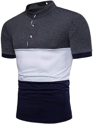 Camisas Polo De Verano De Los Hombres Botón del Bloque del ...