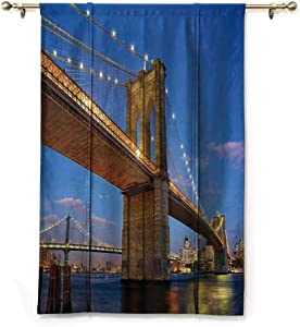 "Rod Pocket Curtain Apartment Decor Collection,Brooklyn Bridge at Twilight in New York City East River Modern Metropolis Sunset Image,Blue Ivory,35"" x 64"" for Small Window"