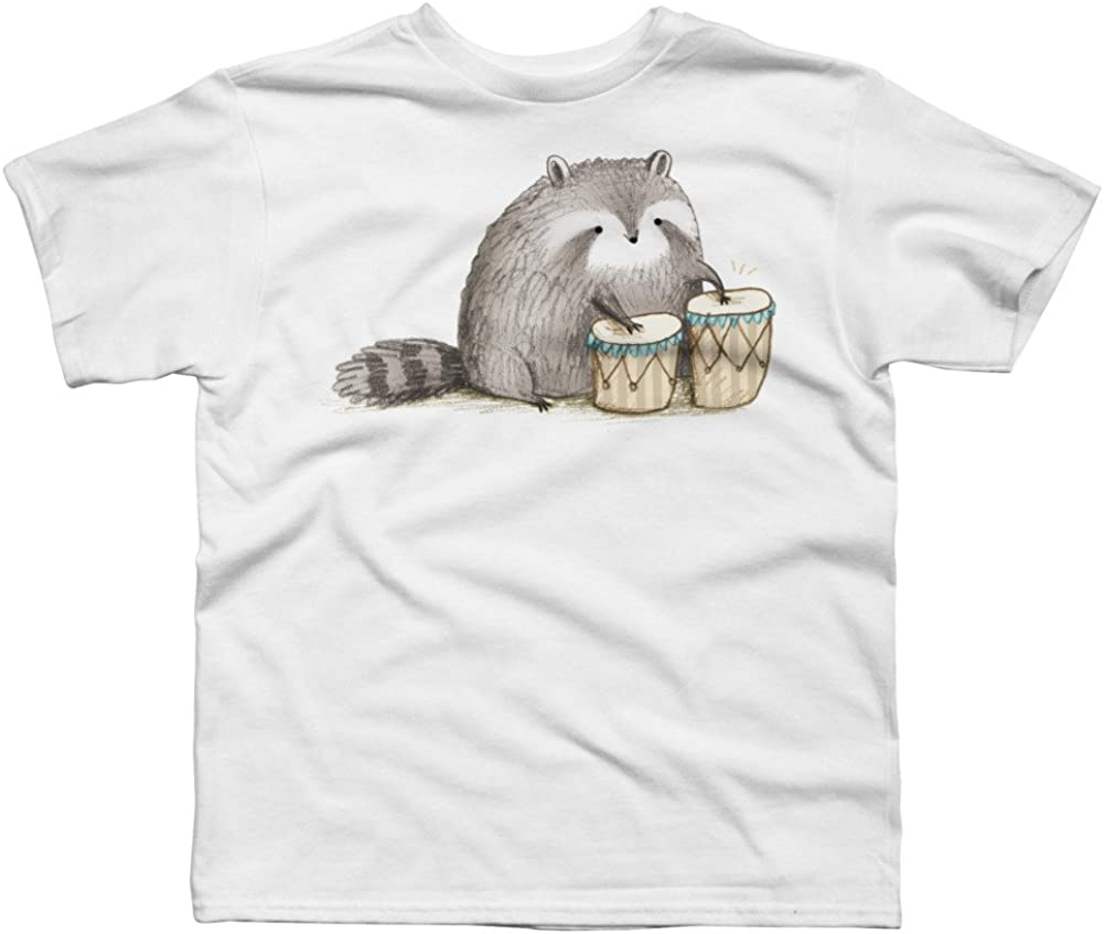Design By Humans Raccoon on Bongos Boys Youth Graphic T Shirt