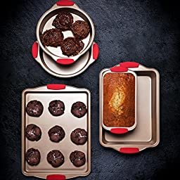 FortheChef Nonstick Rose Gold Carbon Steel Essentials Bakeware Set with Red Silicone Grips