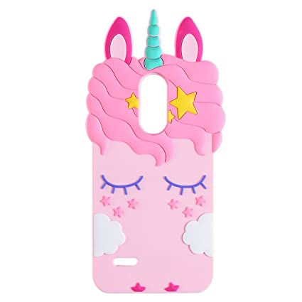 Pink Unicorn Case for LG Fortune 2,Aristo 2 X210,Cute 3D Cartoon Animal  Cover,Kids Girls Soft Silicone Kawaii Character Skin for LG Zone