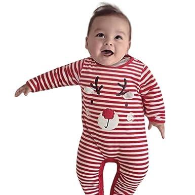 ❤ Mameluco para bebé a Rayas, Recién Nacido Niño Bebé Ciervo Niños de Navidad Niñas Trajes Ropa Romper Jumpsuit Absolute: Amazon.es: Ropa y accesorios