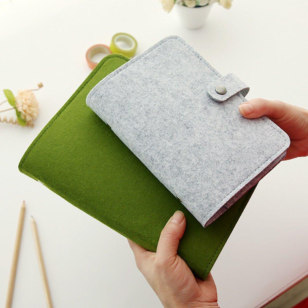 Zhi Jin A5 Wollfilz Nachfüllbares Notizbuch Ringbuch Kalender harter Umschlag Notizblock Tagebuch Memo Stifthalter Black-Ruled Paper