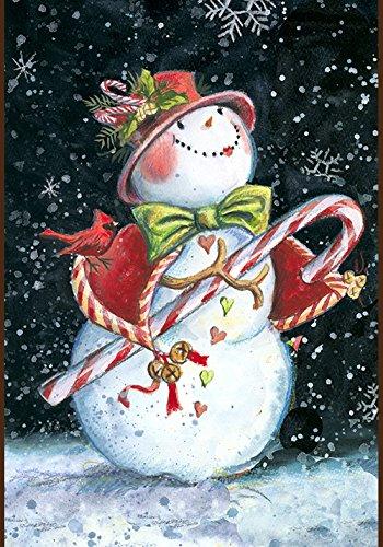 Toland Home Garden Snowcane 12.5 x 18 Inch Decorative Winter Snowman Candy Cane Holiday Garden Flag