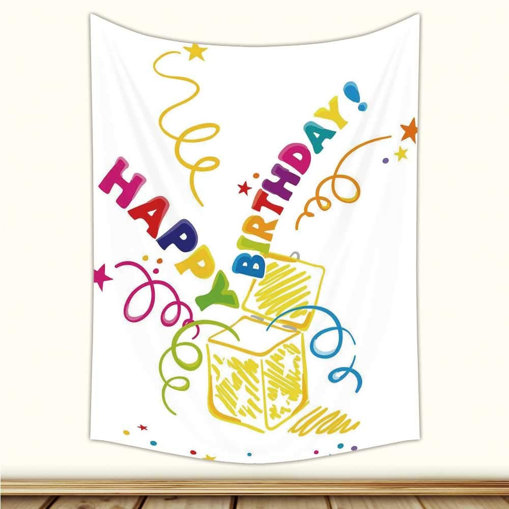 YOLIYANA Birthday Decorations,Surprise in a Box Doodle Style Cheerful Spirals Confetti and Stars,61'' L x 90'' W by YOLIYANA (Image #4)
