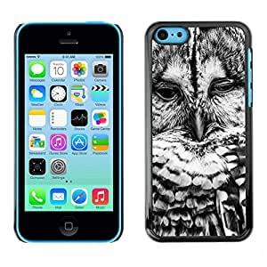 YiPhone /// Prima de resorte delgada de la cubierta del caso de Shell Armor - Black White Bird Nature Cute - Apple iPhone 5C