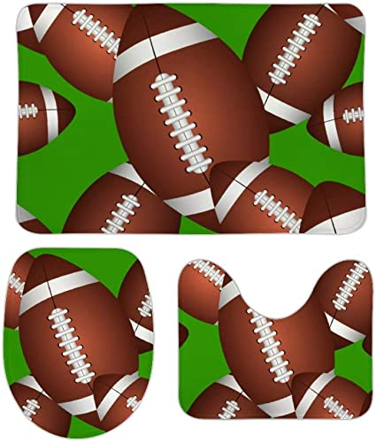 Footballs Pattern Bath Rugs 3 Pcs Toilet Mat Set Water Absorbent Entryway Door Mat Included Bath Rug Toilet Seat Cover Lid Toilet Cover