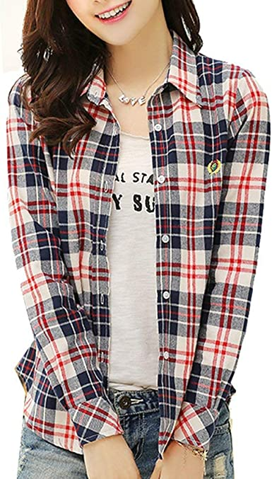 Blusas Mujeres De Manga Larga Camisa Blusa Cuadros De ...