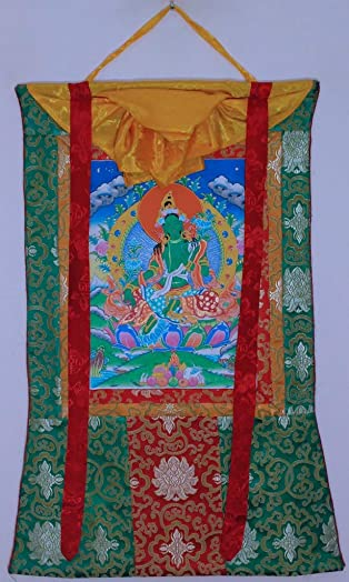 Hand Painted Thanka Thangka, Green Tara Green Brocade7