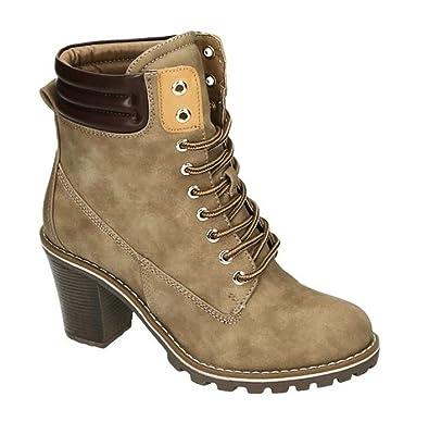 Damen Stiefeletten Worker Ankle Schnür Boots Outdoor Plateau Profilsohle Stiefel  Schuhe 88 (39, Khaki 17c0a1584c