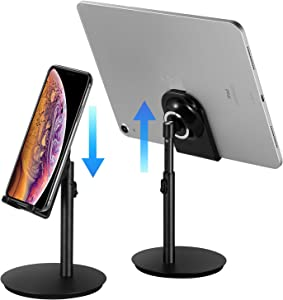 Cell Phone Stand, Tablet Holder, SAIJI Height Adjustable Aluminum Stand Mount, Compatible with iPhone, Samsung Cell Phone, Tablet, iPad, Nintendo Switch, Kindle, Up to 10 Inch Screen (Black2)