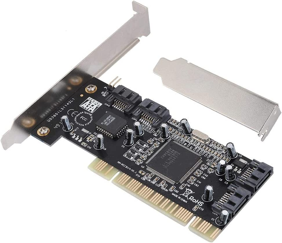 ASHATA PCI 16X to 4-Port SATA Riser Card,5Gbps Sil3114 Master SATA PCI 4 Port Expansion Card,PCI SATA Controller Expansion Card for Windows 98SE//ME//NT4.0//2000//XP//7//Vista and Linux.