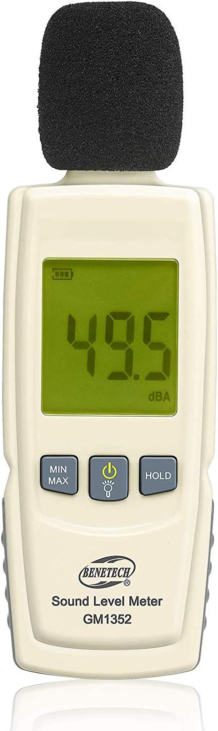 Hanxin Decibel Meter Sound Meter 30-130 dB Noise Meter Max//Min//Data Hold Sound Level Reader LCD Display and Backlight Digital Sound Level Flashlight Audio Noise Volume Measuring Monitoring Instrument