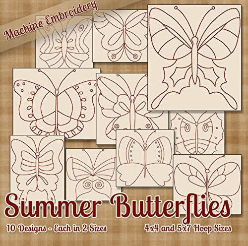 (Summer Butterflies Redwork Embroidery Machine Designs on CD - 10 Beautiful Patterns for Embroidery Machine - 2 Sizes Each - PES JEF EXP XXX VIP HUS DST)