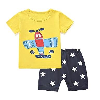aeb617bb0ec8 ChicNChic Baby Boys Short Sleeve T-Shirts Shorts Set 2pcs Cartoon Plane  Summer Outfits Clothing